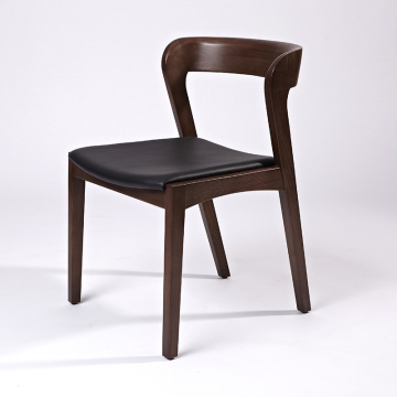 Nordic Contemporary Style Solid Wooden Leather Dining Chair