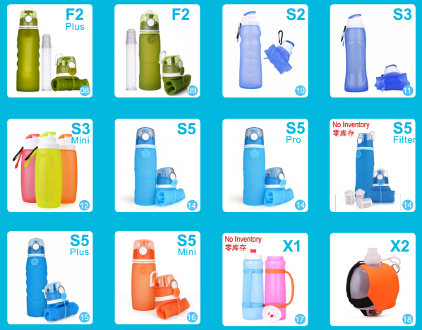 Outdoor Collapsible Silicone Water Bottles
