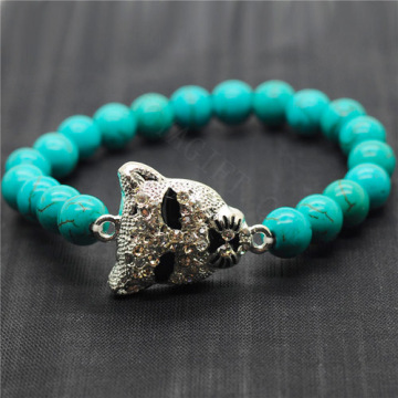 Turquoise 8MM Round Beads Stretch Gemstone Bracelet with Diamante alloy leopard head Piece