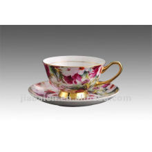 200ML Elegant bone china coffee cup and saucer with flower design