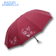 Holiday Gift Item Flower Print Red Color Ladies Fashion Women Umbrella Manufacturer China Wholesale Market in Mumbai