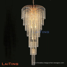 Luxury Hotel Indoor Gold Crystal Chandelier Stairs Lamp 92106