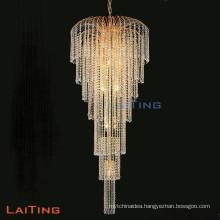 Luxury Hotel Indoor Gold Crystal Chandelier Stairs Lamp 92106