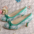 Medium+Heel+Olive+Green+Bridal+Shoes+with+Bow