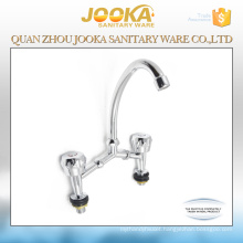 Deck mounted dual handle 2 holes bridge basin mixer