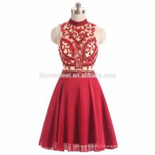 2017 ins vente chaude sexy voir à travers la robe de soirée perlée lourde de couleur rouge guangzhou