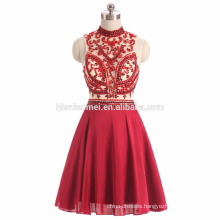 2017 ins hot sell sexy see through red color heavy beaded evening dress guangzhou