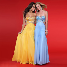 Soft Feminine A-line Sweetheart Neckline Strapless Floor-length Chiffon Beading Prom Dress