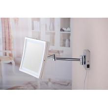 2015 New Square Folding Ajustable Wand LED Bad Spiegel