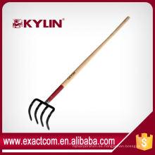 Tenedor profesional del carbono del jardín tenedor cuatro puntas con la manija de madera