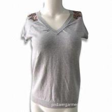 Women's V-neck Raglan Short Sleeve Pullover with Beads