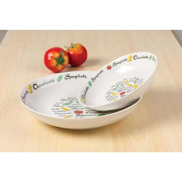 Porcelain decal soup plate 20cm salad bowl
