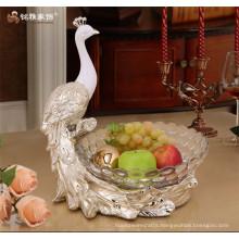 Desk decoration pieces custom resin peacock fruit plate fruit bowl for sale