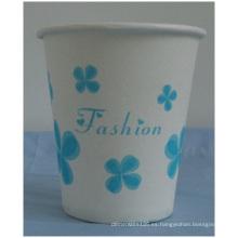 Taza de papel desechable de flor azul, vasos de papel de 7 oz