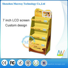 ponto de exibição de papelão de venda com tela de lcd de 7 polegadas