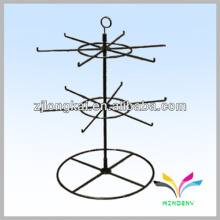 Black 2 niveau 16pegs spinner counter wire display étagère en métal