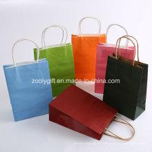 Impressão em cores Twisted Handle Kraft Paper Carrier Bags