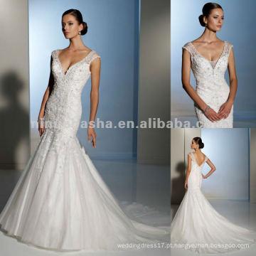 Beading derrama no vestido de noiva enevo de tuleleira