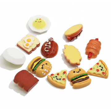Resin Simulated Food Bread Hot Dog Hambugers Pizza Food Model Flatback Cabochon For Home Table Ornaments Figurine Miniatures