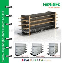 wooden and metal supermarket shelf