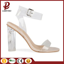 chunky heel ladies pvc sandals and shoes