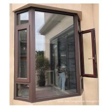 Philippines modern house style wooden grain french casement window aluminium arch windows