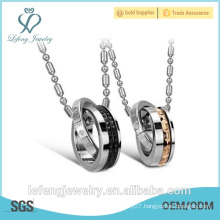 Wholesale price couples jewelry Silver and black circle stainless steel necklace for lovers