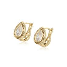 97427 xuping hot selling fashion 14k gold color water drop shape zircon hoop Earrings