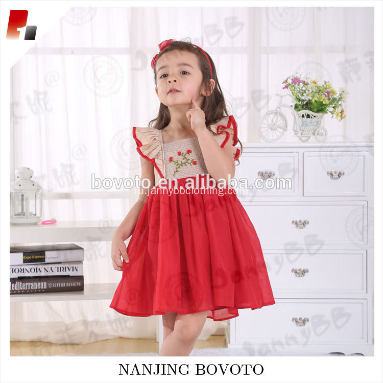 Kid girl summer red chiffon embroideried dress