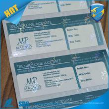 Fábrica de impressão personalizada Etiqueta de frasco de embalagem farmacêutica