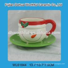 Новогодняя керамическая снеговая чашка с чашкой и блюдцем