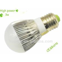 El poder más elevado 100-240v 220v 270Lm E27 3W llevó el bulbo con CE, certificado de RoHs