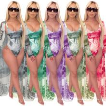 Explosive Fashion Casual Printed Cloak Bikini Split Swimsuit