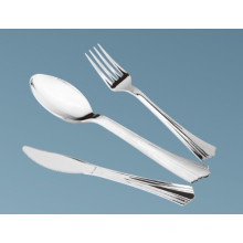 Popular Style Plastic Cutlery in Stainless Silver Coated Color