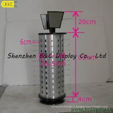 Tablette d'affichage de verres de rotation de panneau modèle alumineux, affichage de compteur de verres (B & C-B043)