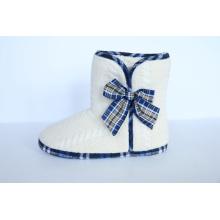 Zapatillas de interior cálido de las mujeres con atado en un arco