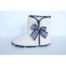 Women′s Warm Indoor Slipper with Tied in a Bow