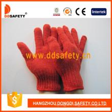 7 Gauge Red Cotton Polyester String Knitted Safety Gloves Dck501