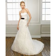 Sweetheart Strapless Lace Cathedral Train Manmade Flowers Ribbon Beading Vestido de casamento Teste Olá World a 10086