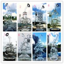 New Arrival 8 Mixed Borosilicato Pyrex Recycler Faberge Ovo DAB Oil Rigs Tubo de água de vidro de fumar