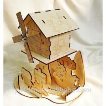 Caja de música de madera del rompecabezas del rompecabezas educativo