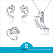 Hot Selling Channel Setting 925 Sterling Silver Jewelry Set (J-0116)