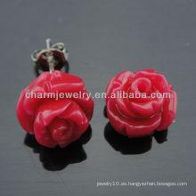 10mm teñido de coral rosa tallada pendientes de perlas de flores Moda coral pendiente para la señora EF-010