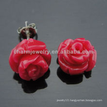 10mm Dyed Coral Carved Rose Flower Stud Earrings Fashion Coral Earring for lady EF-010