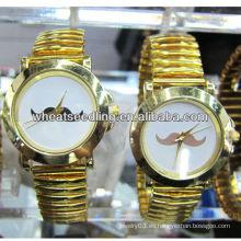 Reloj de lujo del oro del regalo del oro del lujo del diseño del bigote de los pares