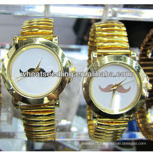 couple mustache design luxury gold plated gift western wrist watch