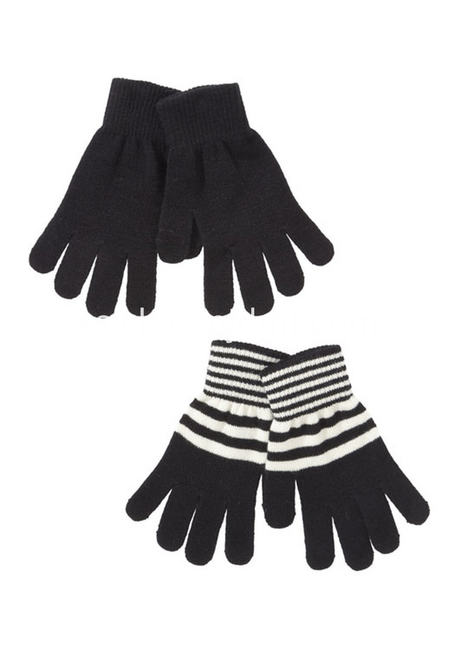 2 Pack Of Plain And Striped Gloves