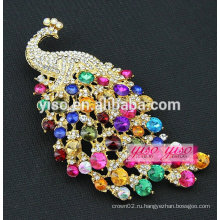 Мода сплава цветной кристалл павлин брошь