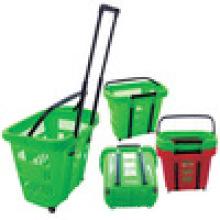 Modernes Design Kunststoffkorb für Mart Warenkörbe für Verkauf Supermarkt Korb mit Rädern