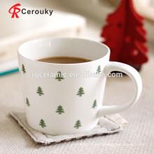 Logotipo pequeño del árbol taza de café barata de la porcelana